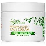 Wild Naturals Face Cream Moisturizer : 86% Organic - for Daily Facial, Eye, Neck, Decollete - Non Greasy, with Manuka Honey + Aloe Vera + Coconut Oil + Cocoa Butter For Acne, Dry, Oily, Sensitive Skin