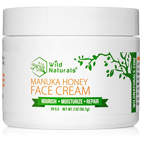 Wild Naturals Face Cream Moisturizer : 86% Organic - with Manuka Honey + Aloe Vera + Coconut Oil + Cocoa Butter, For Dry, Oily, and Sensitive Skin, Facial, Under Eye, Neck, and Decollete, Day or Night