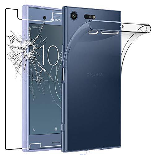 ebestStar - Coque Compatible avec Sony Xperia XZ1 Compact Etui Housse Silicone Gel Anti-Choc Ultra Fine Invisible, Transparent + Film Verre Trempé [Appareil: 129 x 64 x 9.3mm, 4.6'']