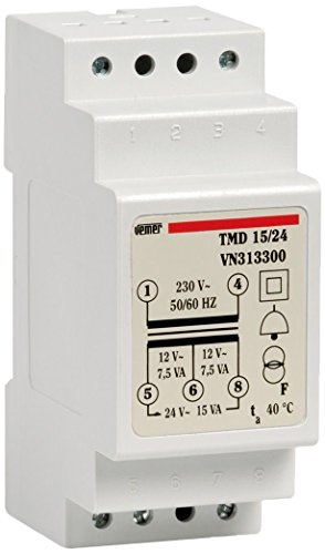 Vemer VN313300Trafo TMD 15/24mit Hutschiene, DIN-Schiene, für unterbrochenen Betrieb 230V / 12-24V Hellgrau