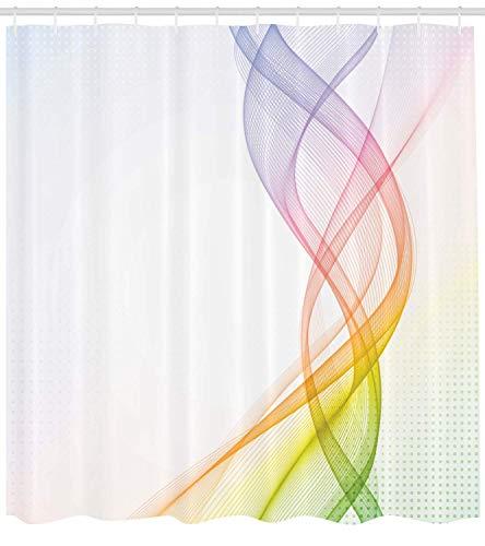 N\A Abstrakter Duschvorhang, moderner & kühler Rauch welliges Design mit Regenbogen-ähnlich detailliertem Kunstwerk, Stoff-Stoff-Badezimmer-Dekor-Set mit Haken, grün-gelb