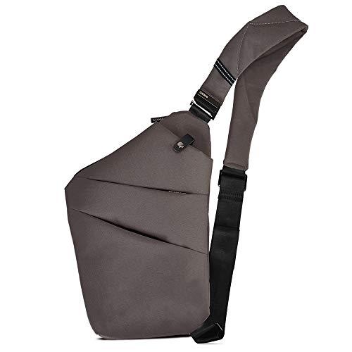 BROADREAM Umhängetasche Braun ,Schultertasche,Anti-Diebstahl, Sling Bag,Brusttasche ,Herrentasche Klein,Schultertasche Klein für Damen und Herren