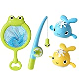 YLWL Kids Frog Net Bag Caña de Pescar magnética Clockwork Whale Toy Set para niños Multicolor
