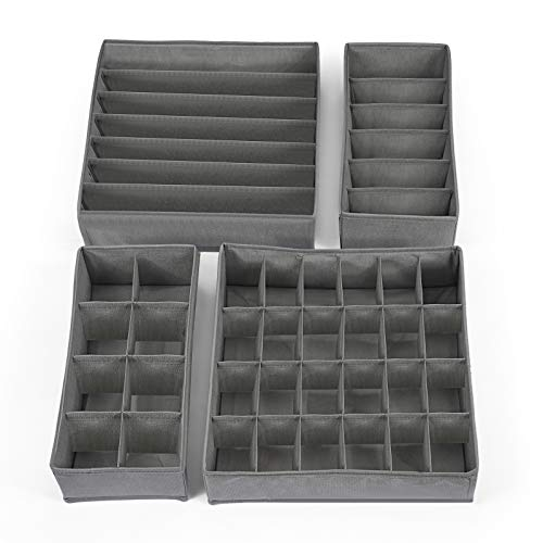 Hansiro Faltbare Aufbewahrungsbox für Unterwäsche und Socken, 4er-Set stapelbarer Organizer für Schublade Kleiderschrank