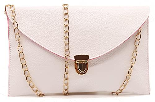 Amaze Fashion Women Handbag Shoulder Bags Envelope Clutch Crossbody Satchel Tote Purse Leather Lady Bag (White)