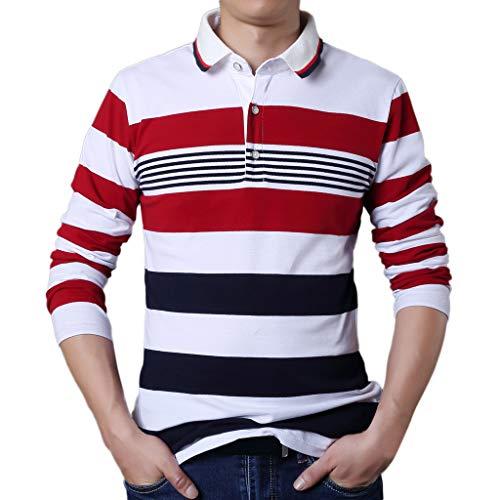 Xmiral Herren Tops Bluse Lässige Mode Knopfleiste Rot Weiß Streifen T-Shirt Langarm Revers T-Shirt(3XL,Weiß)