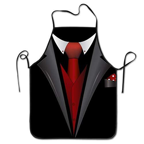 WH-CLA Unisex Latzschürze,Krawatte Clipart Smoking Grillschürze Männer Frauen BBQ Aprons Profiqualität Kochschürze Für Geschenk,Vatertagsgeschenk,Café