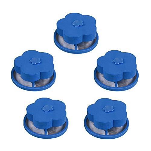Filtre à linge pour machine à laver, veyikdg Flint sur charpie Enlèvement Attrape-cheveux Trousse à mailles Poche en forme de fleur bleue Sac de lavage Outil gadget de ménage Sacs pour Net (A)
