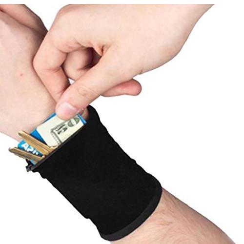 Sport-pulsera de muñeca-bolsa de la cremallera de la muñeca de monedero Running Tenis muñeca gruesa cartera Negro Color de Banda de sudor de la carpeta para llaves con tarjetas de identificación
