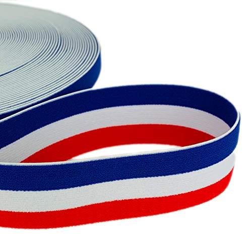 8-Natur Buntes elastisches Gummiband breit 40 mm Frankreich | Gummiband nähen für den Hosenbund beidseitig verwendbar zur Gestaltung von Hosenbändern oder Jogginganzügen