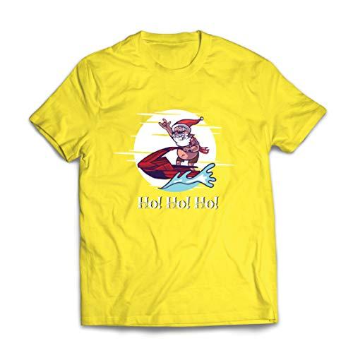 lepni.me Männer T-Shirt Cooles Surfen auf dem Jet Santa Claus, Hawaiianisches (X-Large Gelb Mehrfarben)