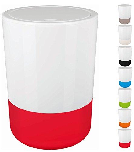 Spirella Design Kosmetikeimer Moji Bad Treteimer Schwingdeckeleimer Abfallbehälter mit Schwingdeckel 5 Liter mit Silikonboden Weiß/Rot