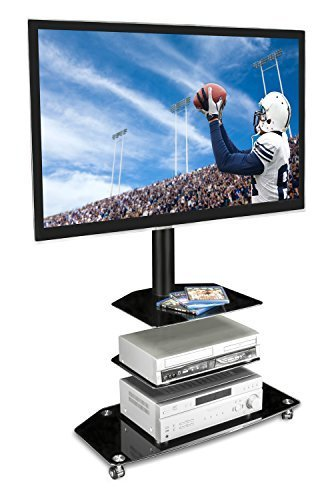 Mount-It! Mobile TV Stand - with Rolling Casters & Three-Tiered Glass Shelving - Fits 32'-60' Displays