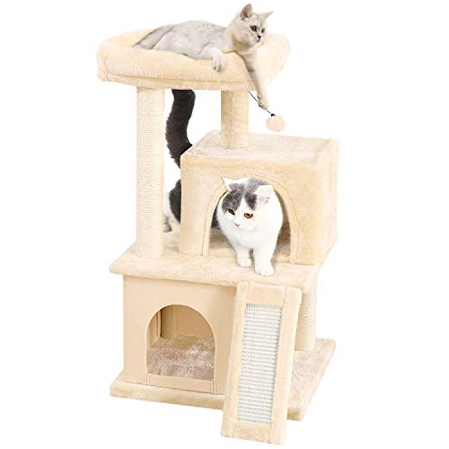 PAWZ Road Cat Tree Luxury Cat Tower with Double Condos, Spacious Perch, Fully Wrapped Scratching Sisal Posts and Replaceable Dangling Balls Beige