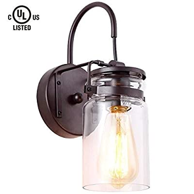 Homiforce Vintage Style 1-Light Sconce Light with Super-Thick Glass Shade Simplicity Industrial Retro Edison Fixture in Antique Brown Finish (Stephan Bronze)