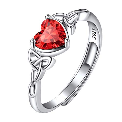 July Birthstone Rings for Teen Girls Women, Adjustable Celtic Trinity Knot Ring, for Her Ring, Crystal Red Ruby Birthstone Ring Sterling Silver