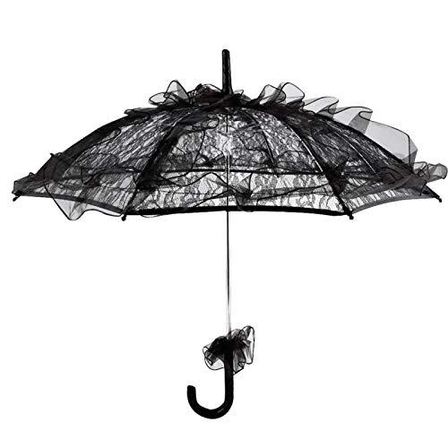 Sombrilla Plegable de Encaje de Color Negro para Mujer, Fiesta, Boda, decoración Nupcial, Accesorio de fotografía de Baile, Paraguas de Encaje Hecho a Mano