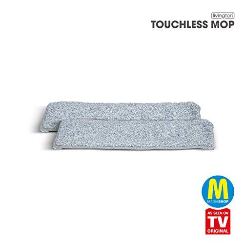 Mediashop Livington Touchless Mop Mikrofaser Pads – Ersatz Wischmopp Bezug für den Bodenwischer ohne Bücken – Mikrofaser Pad für einfache Reinigung – 2 Stück