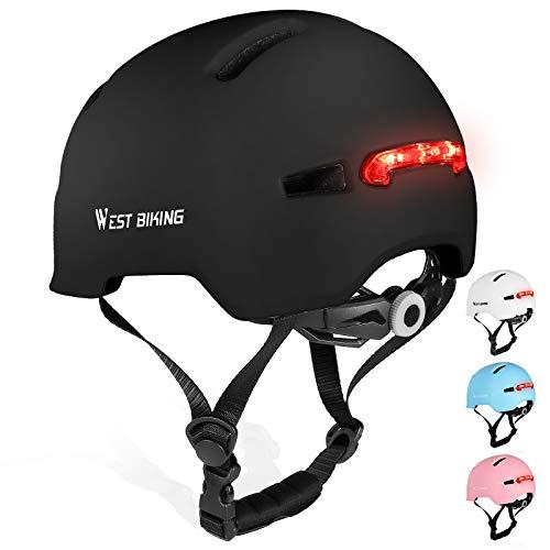 WESTIGHT Fahrradhelm mit LED Licht,komfortabel Rücklicht Helm Fahrrad,Fahrradhelme für Erwachsene Herren MTB,Helm Damen Fahrrad für Mountainbike Rennrad,Licht Fahrradhelm LED für Skateboard 57-61CM