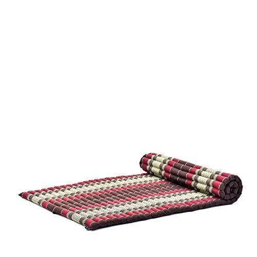 Leewadee materassino thailandese Arrotolabile, L: Tappeto per Dormire, Spessa stuoia da Massaggio, Strumento Ecologico in kapok, 200 x 105 cm, Marrone Rosso