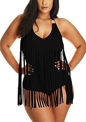 Pandolah Women Plus Size Tassel Fringe Padded Bikini Bandeau One Piece Swimsuits (2XL, Black-5)
