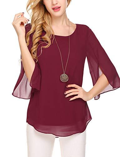 Beyove Damen Shirts lose 3/4 Ärmel Bluse Hemd Chiffon Langarmshirts Oberteile Tops elegant (EU 42(Herstellergröße:XL), Weinrot-neu)