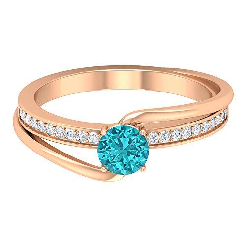 Anillo de paraiba turmalina verde de 5 mm creado en laboratorio, anillo de oro de diamante HI-SI, anillo de compromiso de bypass, 14K Oro rosa, Size:EU 50