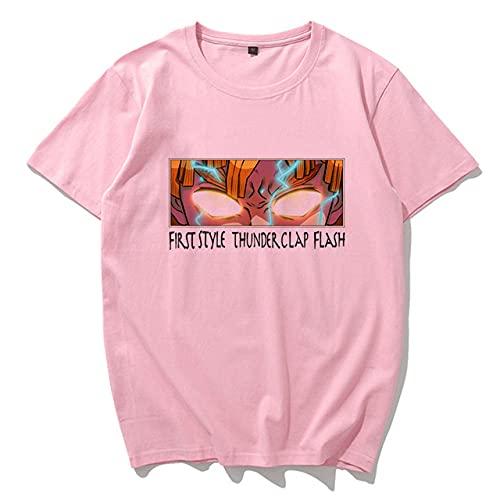 Momyeah Manga Corta Camiseta de Anime de Dibujos Animados de Verano, Talla Grande, Manga Corta, Suelta, Ropa de Mujer Harajuku, patrón de Color sólido, Adecuado para Todas Las Ocasiones, Pink6, XL