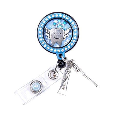Memory Locket Floating Charms Retractable Reel ID Badge Holder (Tooth Locket Badge)