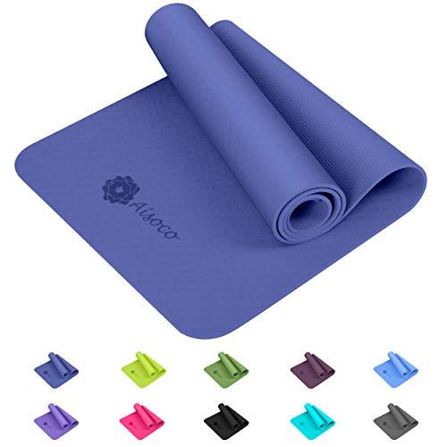 Aisoco Estera de Yoga TPE Premium, Antideslizante, respetuosa con el Medio Ambiente, respetuosa con la Piel, con Bolso y Correa de Transporte