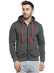 Scott International Mens Premium Cotton Blend Pullover Hoodie Sweatshirt With Zip - Charcoal