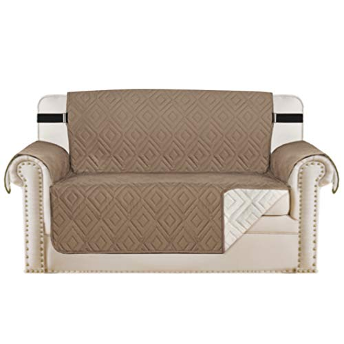 H.Versailtex Sofa Protectors Waterproof Sofa Covers 2 Seater from Pets/Dogs, Love Seat Covers Furniture Protector Slipcovers Quilted, Non Slip with Strap, 2 Seater, Reversible Taupe/Beige