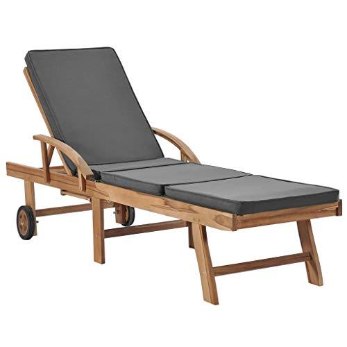 vidaXL Solid Teak Wood Sun Lounger with Cushion, Dark Grey