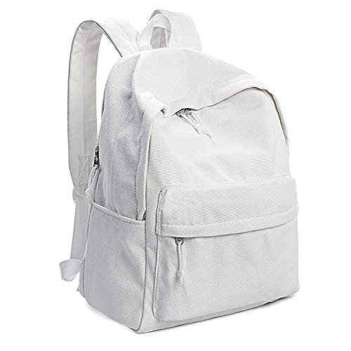 Zicac Unisex DIY Canvas Backpack Daypack Satchel Backpack (White, With Side Pocket)