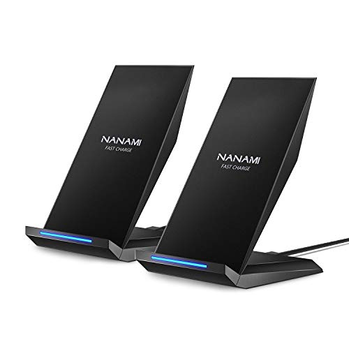 Fast Wireless Charger,[2 Pack] NANAMI Qi Certified Wireless Charging Stand Compatible iPhone SE/11/11 Pro/11 Pro Max/XR/XS Max/XS/X/8 Plus,Samsung Galaxy S20/S10/S9/S8/Note10+/9/8 and Qi-Enabled Phone