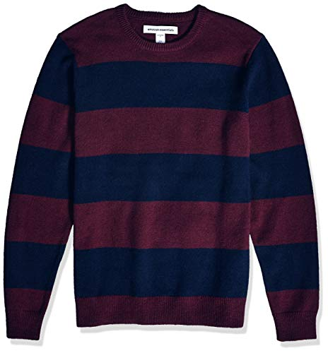 Amazon Essentials Men's Midweight Crewneck Sweater, Burgundy/Navy, X-Small