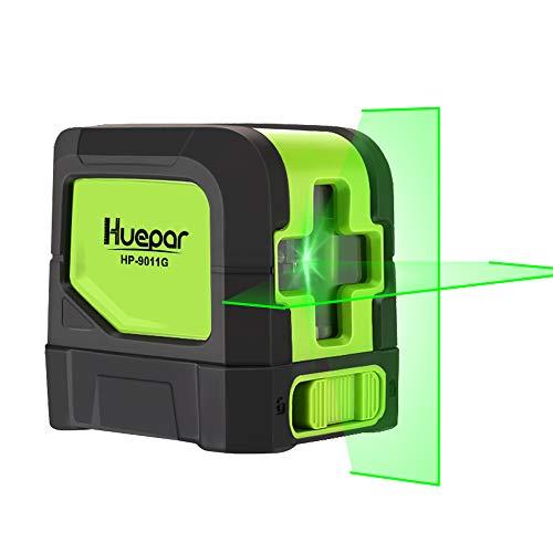 Huepar 2ライン グリーン レーザー墨出し器 クロスラインレーザー 緑色 レーザー 自動補正 傾斜モード 高輝度 ライン出射角110° ミニ型 操作簡単 マグネットベース付き 9011G