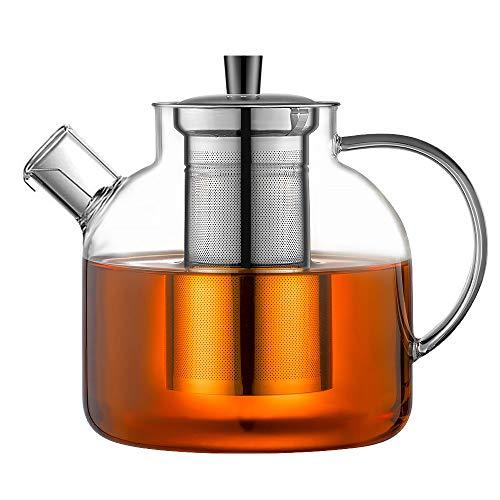 Ehugos Théière en Verre, Bouilloire de thé sûre pour la cuisinière 1500 ML avec infuseur en Verre à Eau en Verre borosilicaté Préparateur de théière pour thé à Feuilles Mobiles
