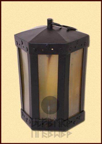 Ulfberth Mittelalterliche Laterne mit Hornfenstern, 6-eckig, handgefertigt - Windlicht Kerzenhalter, Kerzenleuchter Mittelalter Wikinger LARP