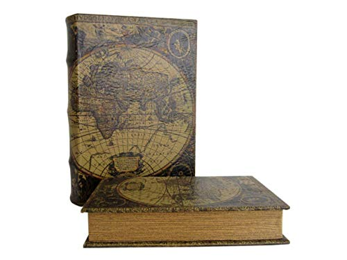 N / A Geldversteck Weltkarte Gr. XL 33cm im antik Design Schmuckschatulle Box Kiste Buchsafe
