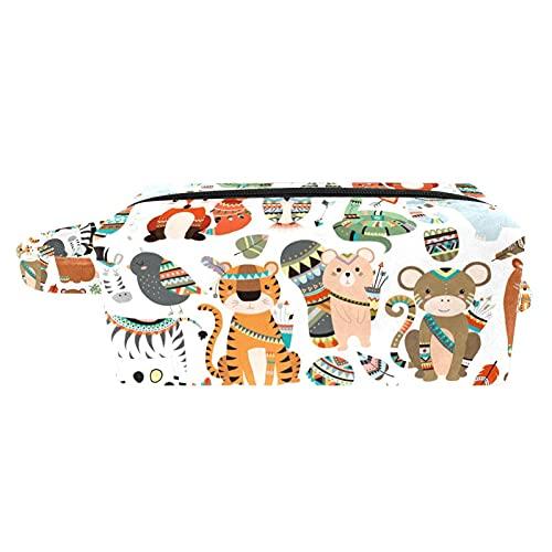Neceser Maquillaje Portátil Bolsa de Maquillaje Ligera Bolsillos Profesional Organizador de Maquillaje Bolso de Cosméticos de Viaje Animales de Dibujos Animados 21x8x9 cm