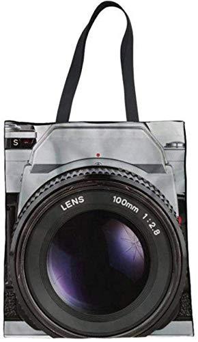 Bedruckte Einkaufstasche,Leinwand Tasche 3D-Kamera Druckt Frauen Mode Casual Handtaschen Wiederverwendbare Faltleinwand Leinen Umhängetaschen