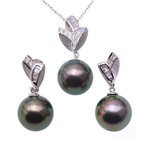 JYX Collier et boucles d'oreilles en or 18 carats avec perles de Tahiti Vert paon 10,5 mm