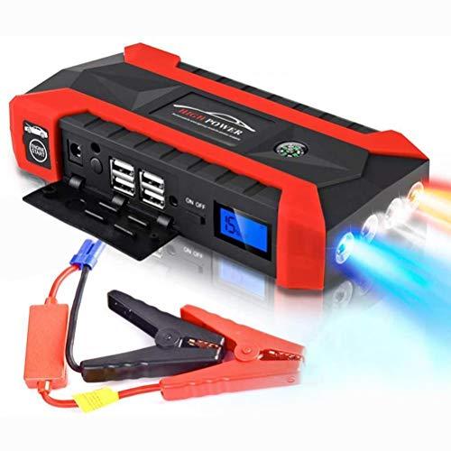 Roexboz Batería de coche de 20.000 mAh, ayuda de arranque, ayuda de arranque de emergencia, con carga rápida, motor diésel con cable de carga USB