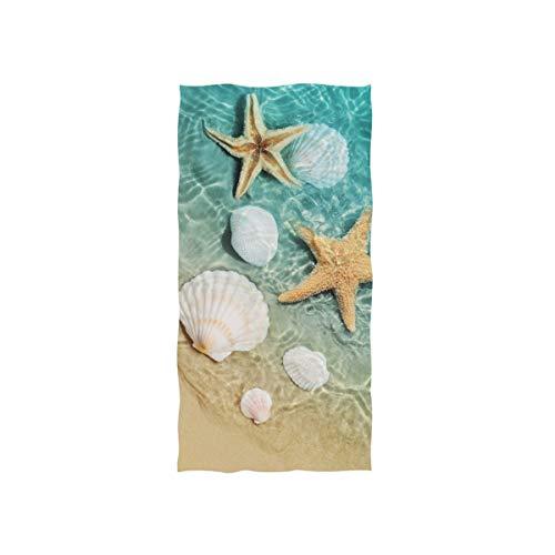 "senya Hand Towels Starfish Seashell On Beach Soft Towels for Hotel Bathroom Gym 30"" x 15"""