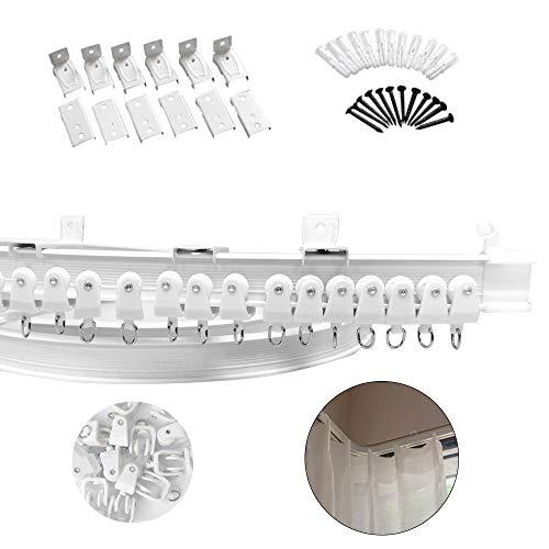 Xnuoyo Riel de Plástico Flexible para Cortina, Barra Flexible de Plástico y Aleación de Metal para Cortina de Ventana para Ventanas Rectas o Salientes, para Cortinas, Separador de Ambientes (5m)
