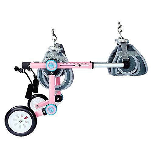 KAINUO Silla de Ruedas Ajustable para Perros de Dos Ruedas, arnés Suave 3D, Protege el Pecho y Las extremidades, fácil de Montar, Peso Ligero, para espondilitismo(XXXS, Pink)