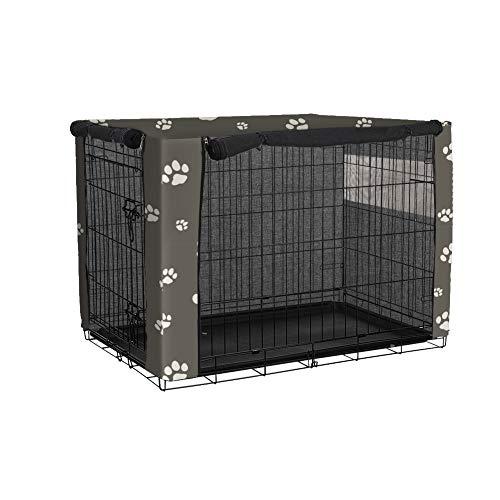 QEES Fundas para jaula de perro, resistente al viento, cubierta para jaula de mascotas, cubierta para jaula de mascotas, a prueba de polvo, capucha para mascotas (S: 64 x 48 x 51cm, negro)