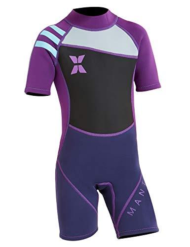 Echinodon Mädchen Neoprenanzug UPF 50+ 2.5MM Neopren Schwimmanzug Kurzarm UV Schutz Badeanzug für Baby Kinder Violett L