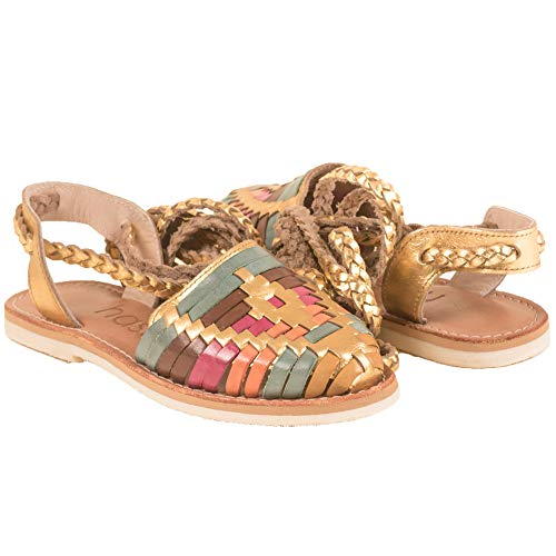 The Western Shops Womens Leather Sandals, Womens Huarache Sandals, Mexican Leather Huarache Sandals (6, Gold Multi)